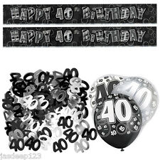 Black 40th Birthday Banner Party Decoration Pack Kit Set Balloon Glitz Unisex
