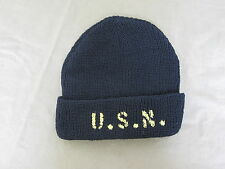 US Army Watch Cap USN Stencil Navy Black M-4 Mechanics Cap Marines USMC WWII WK2