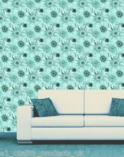 Debona, Wallpaper, Teal Daisy Floral Design, Flower Leaf Roll BNIB Gerbera 5002