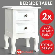 2 x Bedside Table 2 Drawer Cabinet Storage Chest White Painted Wood Small French