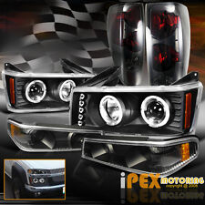 04-12 Chevy Colorado Halo Projector Black LED Headlight+Signals+Smoke Tail Light