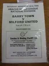 16/11/1985 Barry Town v Milford United  . Thanks for viewing our item, when list