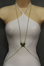 Women Antique Gold Metal Body Chains Long Necklace Jewelry Harness Angel Wings