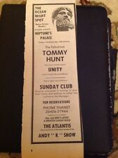 L3-9 Ephemera 1974 Advert Margate Ocean Night Spot Unity Tommy Hunt