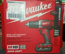 "new unopened Milwaukee m18 1/2"" compact drill/driver kit 2606-22ct"