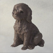 Labradoodle Mini Resin Hand Painted Dog Figurine Chocolate