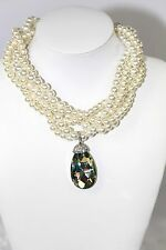 D15 Twisted White Ivory Pearl Crystal Pendant Necklace Earring Set Boutique