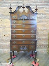 KINDEL Oxford Mahogany Chippendale Flamed Finial High Boy Chest