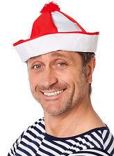 Bommel Schiffskappe für Matrosen Rot Weiß NEU - Karneval Fasching Hut Mütze Kopf