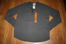 NWT Mens LUCKY BRAND Dark Gray Henley Thermal Long Sleeve Winter Shirt L Large