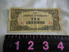 Vintage WWII The Japanese Government Ten  Centavos
