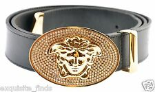 New Versace Black Leather Belt with Gold Crystal Embellished Large Buckle 90/36