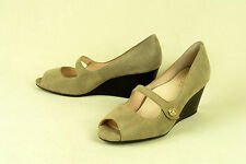 TARYN ROSE / 'KINGSPORT' / BLACK MICRO-DOT ON NUDE SUEDE WEDGE / sz 9 M / SUPERB