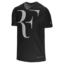 Nike Men's RF Roger Federer SS V-Neck T - Shirt 646559-010 Large L Black Tee