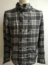 ALL SAINTS Mens ARRAS HOODED Shirt Grey White Check Size S Small