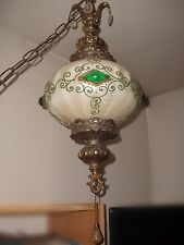 Antique Victorian Gorgeous Green/Cream  L & L WMC Brass Electric Swag Lamp 27""