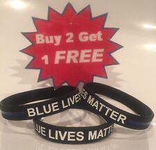 1 Thin Blue Line Bracelet BLUE LIVES MATTER Police Support Wristband BUY 2 GET 1