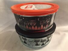 Lot Of Two Halloween Pyrex 4 Cup Lids Containers Storage Glass Owls Cats NEW