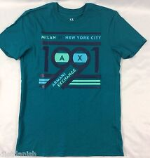 Armani Exchange Men's T-Shirt Tee Graphic 1991 Blue Green Size S
