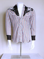 vtg 70s H Bar C pearl snap arrow embroidered Psychobilly stage western shirt