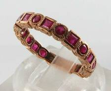 CLASS 9CT ROSE GOLD INDIAN RUBY 3/4 FULL ETERNITY ART DECO INS RING FREE SIZE