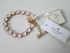 NWT Auth Kate Spade Fancy That Light Pink Stone Bow Charm Tennis Bracelet $128