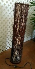 """Huge 31×7"""" Woven Natural Rattan, Stick, & Canvas Cylindrical Table/Floor Lamp"""