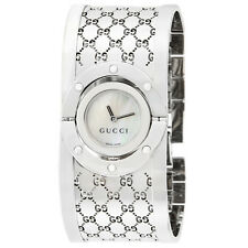 Gucci 112 Twirl Ladies GG Monogram Wide Bangle Bracelet Watch YA112413