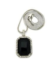 "SILVER ICED OUT RUBY,ONYX,CLEAR GEM STONE 2mm/24"" & 30""BOX CHAIN NECKLACE XZ99BX"