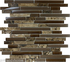 SAMPLE- Brown Glass Natural Stone Linear Mosaic Tile Wall Kitchen Backsplash Spa