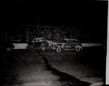 Original 4X5 Photo Negative Stock Car Race 1952 666 Car In Wreck Grandstand 1020