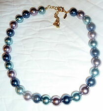 """Joan Rivers GP knotted 14mm Blue Green Purple Glass Bead 16"""" Necklace"""
