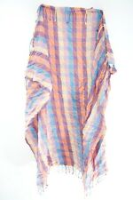 LADIES COLORFUL CHEQUERED PLAID SILVER INFUSED TASSELED STATEMENT SCARF(MS41PT3)
