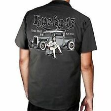 Lucky 13 Miss Lead Vintage Car Pinup Girl Mechanic Biker Punk Work Shirt 4Xl