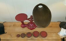 VINTAGE FAIRBANKS SCALE CAST IRON WITH BRASS BASKET AND 5 WEIGHTS