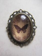 Vintage Bronze Plated Antique Black Butterfly Design Brooch New in Gift Bag