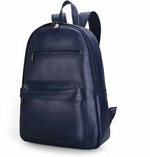 Damero Genuine Leather Backpack Travel Rucksack Daypack School Pack, Dark Blue