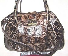 Brahmin New Laura Espresso Orinoco Embossed Croco Leather Satchel Bag NWT $345