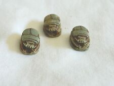 3 Small Ceramic Egyptian Scarab Antique Looking Beetle Lucky Charm Green 0.5""