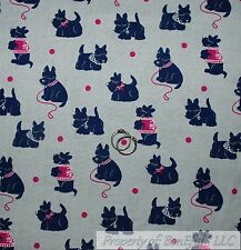 BonEful Fabric FQ Cotton Quilt Gray Pink Scottie Dog Small Puppy Dot Westie Girl