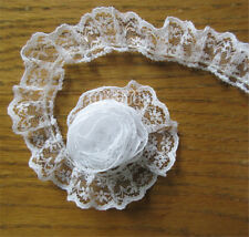 Pleated Organza Lace Edge Trim Gathered Mesh Ribbon Sewing Craft 10 Yards White