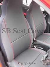 TO FIT A PERODUA KELISA, CAR SEAT COVERS, CHARCOAL GREY + RED BEADING