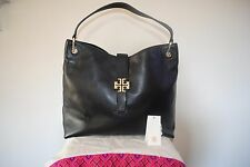 Tory Burch Large Black Leather Plaque Tote Hobo Satchel Double Top Handle Bag