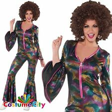 Adulto Para Mujer Brillantes Años 70 Disco Mono Fancy Dress 70s Costume