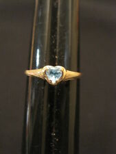 10 Kt Yellow Gold December Birthstone Blue CZ Heart Ring Size 7.25 ~ 1.10 Grams