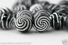Black Silver Etched Round Swirled Acrylic Beads 10mm (20)