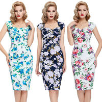 NEW VINTAGE FLORAL 50'S 60'S RETRO OFFICE PENCIL BODYCON PIN UP DRESS