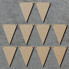 Triangle / Flag Bunting x10 - Wooden Laser Cut mdf Craft Blanks / Shapes