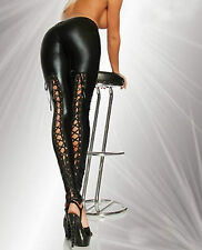 Sexy Faux Leather Look Leggings Lace Up Back Elasticated Waist