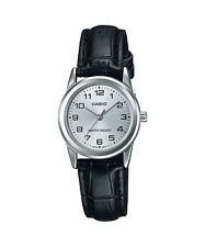 Casio Women's Black Leather Strap Watch, Silvertone Dial, LTP-V001L-7B